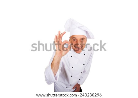 Professional chef in white uniform with perfect sign. - stock photo