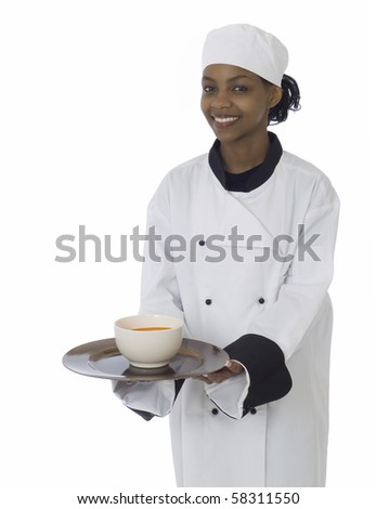 Professional chef in work-wear jacket serving soup isoaltated on white - stock photo