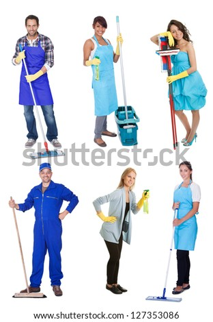 Professional cleaners with equipment. Isolated on white background - stock photo