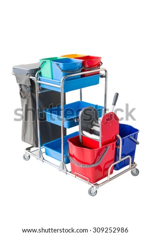 Professional cleaning cart - stock photo