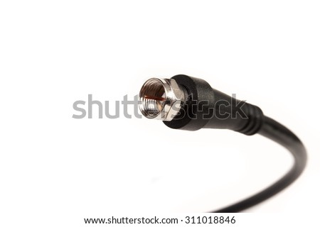 Professional coaxil cable tv connector (RG6) close up isolated on white background