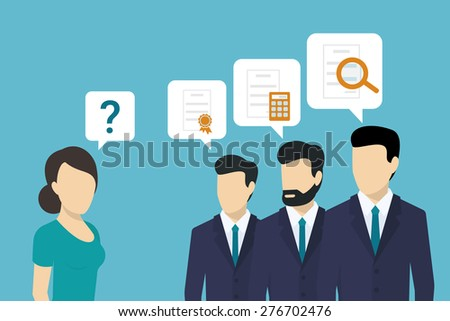 Professional consulting team is giving best solutions to the client - stock photo