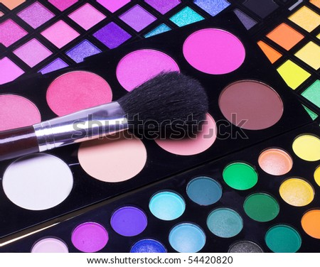 Professional cosmetics. Eye-shadow,rouge,powder. - stock photo