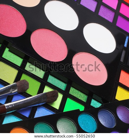 Professional cosmetics. Eye-shadow,rouge,powder.