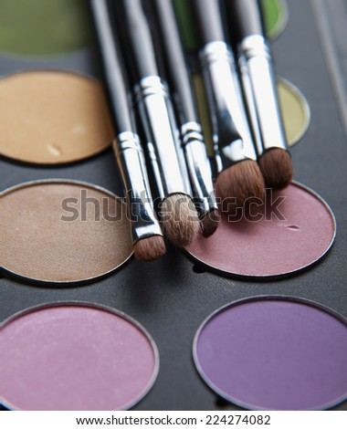 Professional cosmetics, palette with eyeshadow, make-up - stock photo