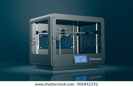 professional 3d printer on dark background (3d render)