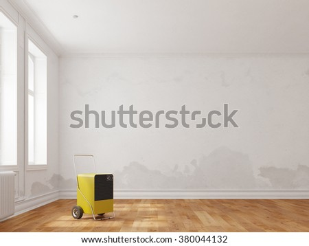 Professional dehumidifier in room after water damage (3D Rendering) - stock photo