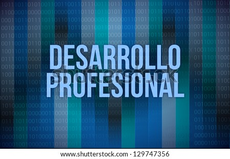 professional development concept in spanish illustration design blue background - stock photo