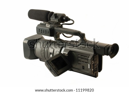 Professional digital video camera isolated on the white background - stock photo