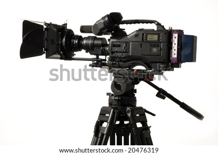Professional digital video camera on a white background. - stock photo
