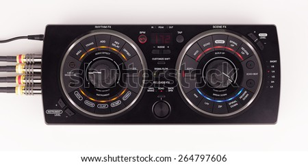 Professional DJ equipment on white background. - stock photo