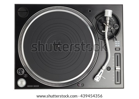 professional dj turntable isolated on white, top view - stock photo