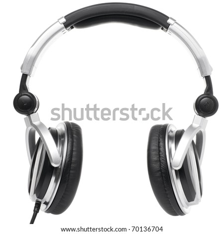 professional earphones isolated on white - stock photo