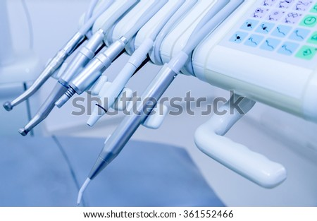 Professional equipment used in a dentist clinic - stock photo