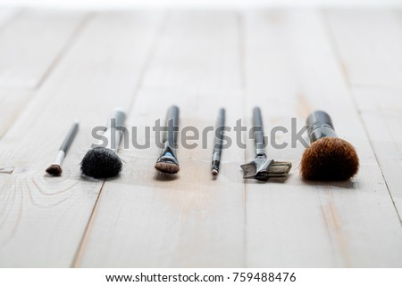 Professional Face And Make Up Brushes For Artist Beauty School Wallpaper Concept Of Fashion