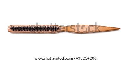 professional fashion hair brush wooden isolated on white - stock photo