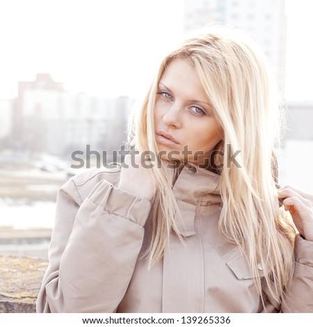 professional fashion portrait beautiful girl - stock photo