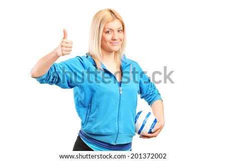 Professional female handball player giving thumb up isolated on white background - stock photo