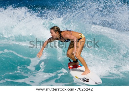 Professional Female Surfer (For Editorial Use Only)