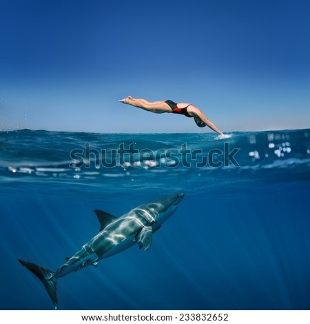 professional female swimmer attacked by Great White Shark  - stock photo