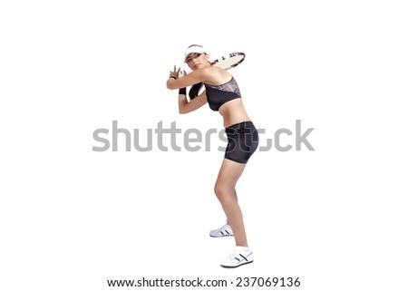 Professional Female Tennis PLayer Serving Ball. Studio Shot. Horizontal Image. Against White Background - stock photo