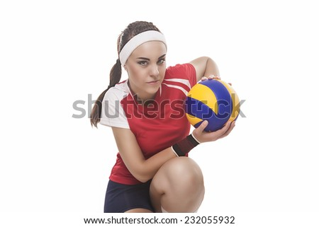 Professional Female Volleyball Player Sitting With Ball. Isolated Over Pure White Background. Horizontal Image - stock photo