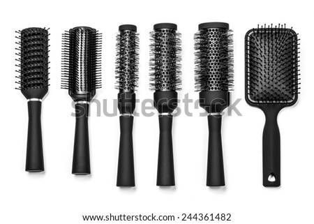 Professional hairdresser tools, isolated on white background - stock photo
