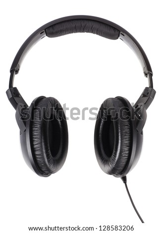 Professional headphones isolated over white background - stock photo