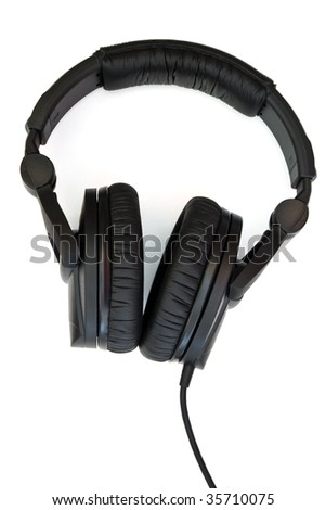 professional headphones isolated with clipping path on white background