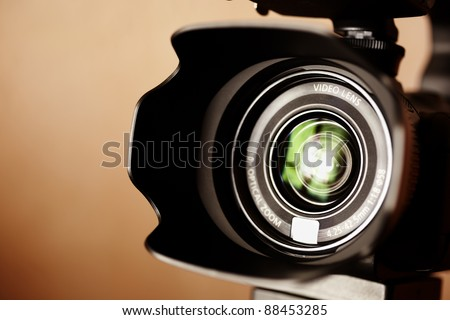 professional high definition camcorder in close up, selective focus - stock photo