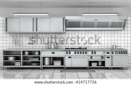 Professional kitchen facade. View surface in stainless steel. 3d render - stock photo