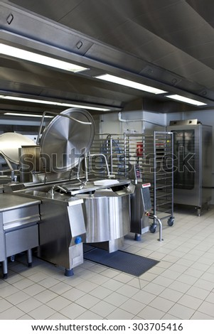 Professional kitchen in a the canteen of a community - stock photo