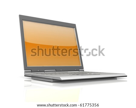 professional Laptop isolated on white background with reflection - stock photo