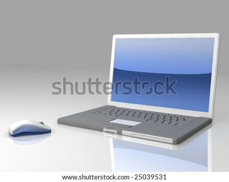 professional Laptop on gray background with mouse