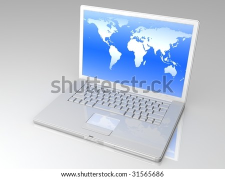 professional Laptop on gray background with reflection