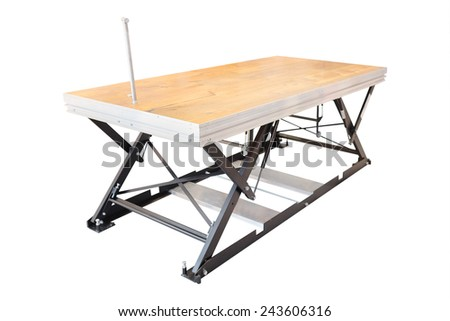 professional lift table in the atelier isolated under the white background - stock photo