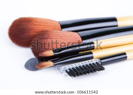 Professional make up and powder brushes - stock photo