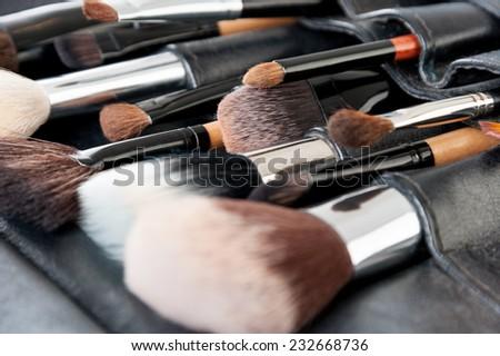 Professional make-up brush cosmetic on black background - stock photo