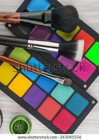 Professional make-up brush cosmetic on white background - stock photo
