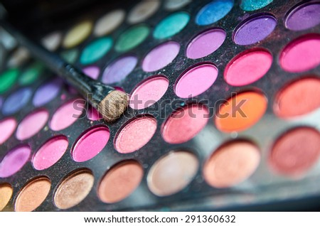 Professional Make-up brushes and colors - stock photo