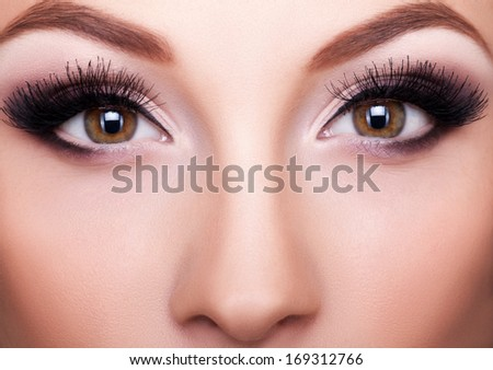 Professional make up close up shot, beauty concept - stock photo