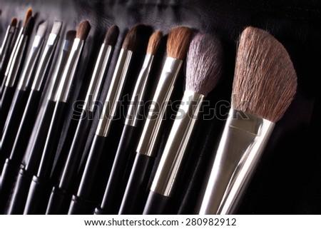 Professional makeup brushes. Make up kit applicator. - stock photo