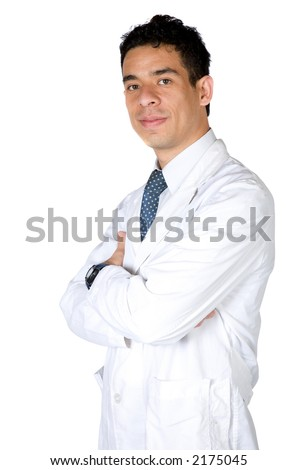 professional male doctor over a white background - stock photo