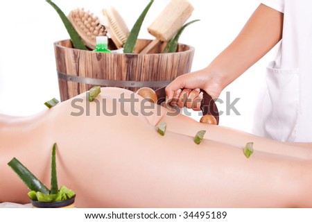 professional masseuse making a aloe treatment massage in the back - stock photo