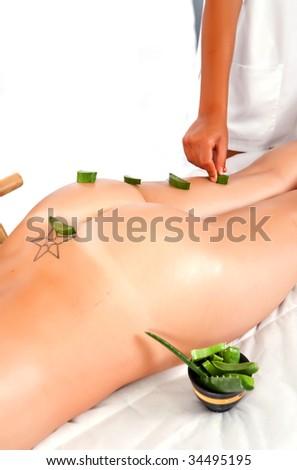 professional masseuse making a aloe treatment massage in the back - stock photo