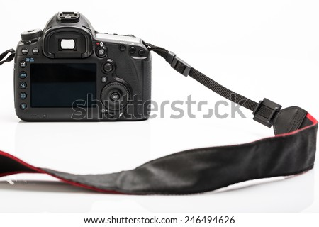 Professional modern DSLR camera - detail of the top LCD with settings - shutter speer, aperture, ISO, AF mode, battery info, RAW format indication,... - stock photo