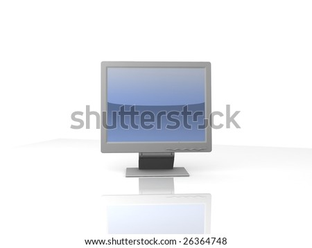 professional monitor isolated on white background with reflection