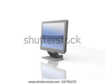 professional monitor isolated on white background with reflection - stock photo