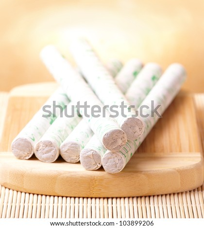 Professional moxa sticks with copy space for your text - stock photo