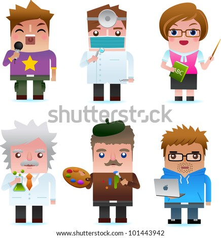 Professional occupation icons including singer, dentist, teacher, scientist, artist, programmer - stock photo